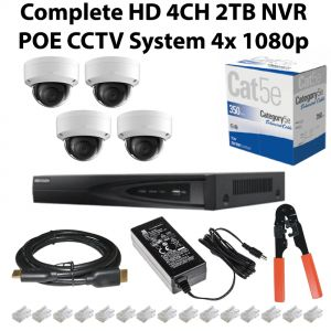 HD 4ch 2TB NVR With POE System With 4x1080p 5MP Cameras 305m Black Outdoor CAT5 Connectors and PSU