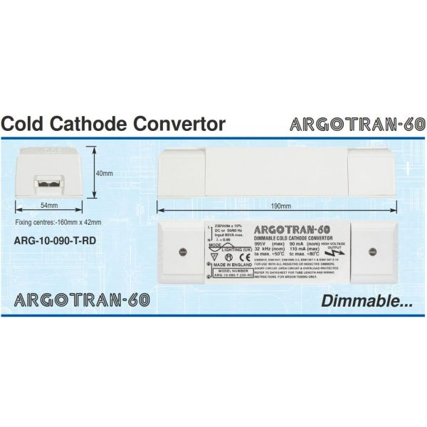 Mode  Argotran 60 Cold Cathode Convertor (1.0kV, 90mA, Dimmable, 230 Volt Input) ARG-10-090-T-230-RD
