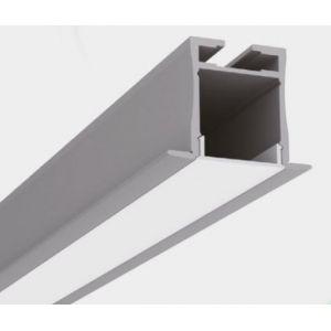 2.5m Deep Flush Mountable Suspendable Aluminium Profile with Milky Diffuser LED Profile for LED Strips