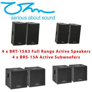 "OHM 8KW Sound System BR Active Powered Speakers 4 15"" Full Range and 4 15"" Subwoofer Speakers"