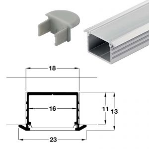 2.5m 11mm Deep Flush Mountable Aluminium Profile with Milky Diffuser LED Profile for LED Strips