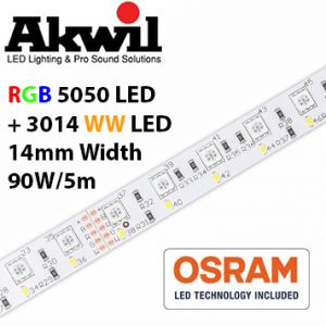 Akwil Dimmable Dual LED Strip 300x RGB 5050 and 300x WW 3014 LED Strip 5m per reel 24V 90W