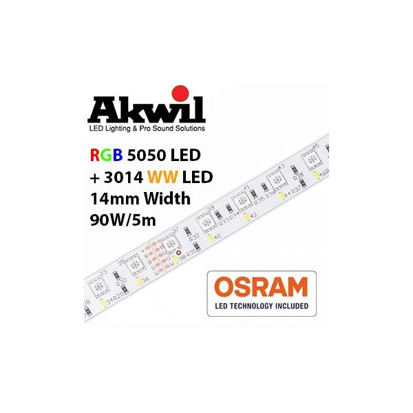 Akwil Dimmable Dual LED Strip 300x RGB 5050 and 300x WW 3014 LED Strip 5m per reel 24V 90W