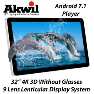 32 Inch 4K 3D LED Display 3D Autostereoscopic without Glasses 9 Lens  Lenticular Display System with inbuilt Android 7.1